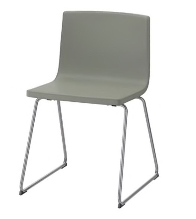 Pale Green Leather Chair (chrome-plated BERNHARD) (IKEA)
