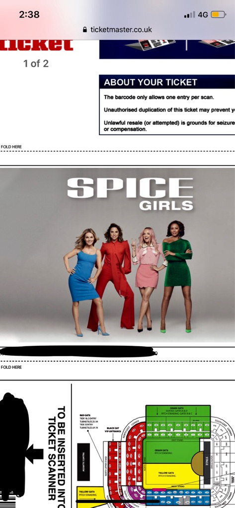 2 x Seated Spice Girl Tickets