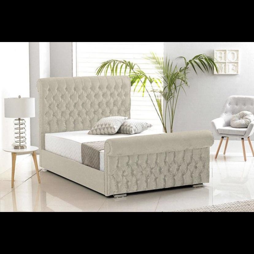 King size cream crushed velvet bed