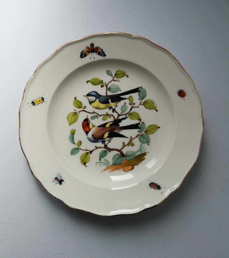 An antique Meissen Ornithological theme dinner plate.