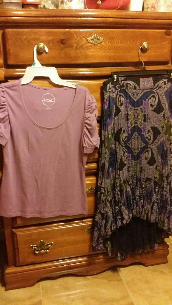 Loft top, size L, INC high/low skirt, size 12