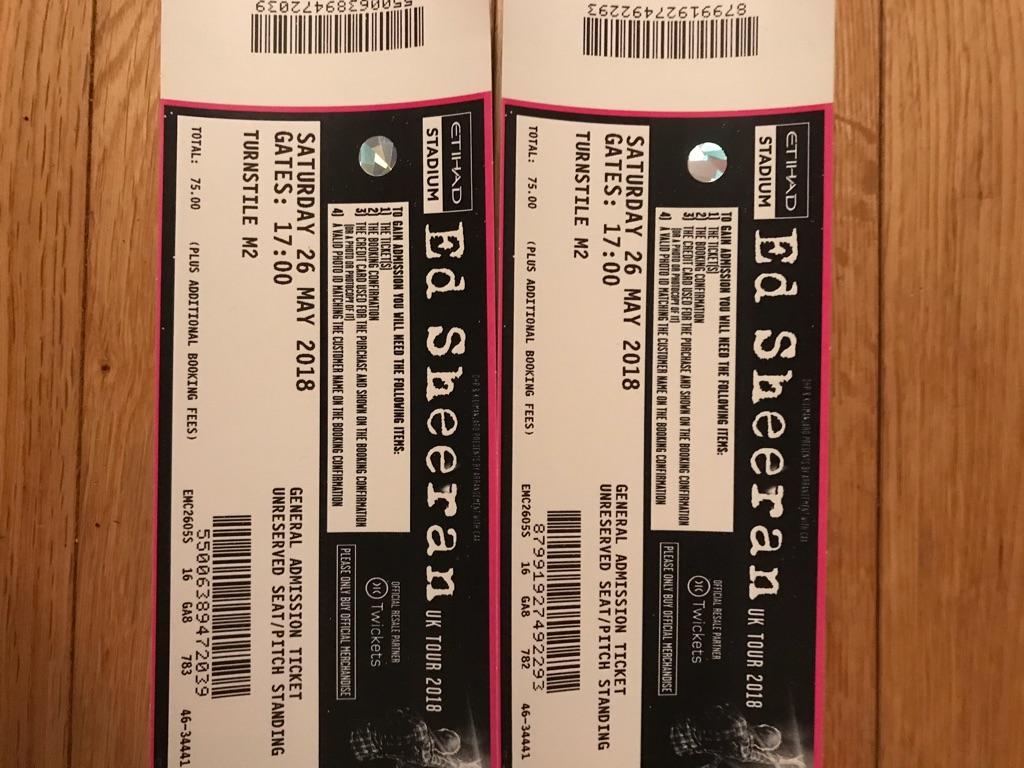2 x Ed Sheeran tickets