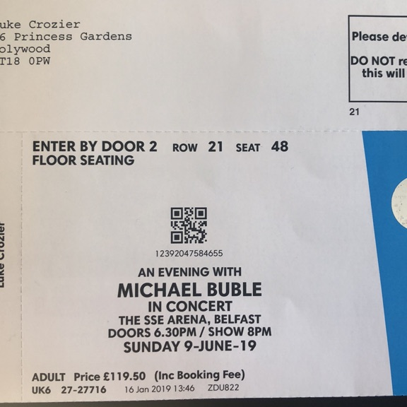 Michael Buble ticket