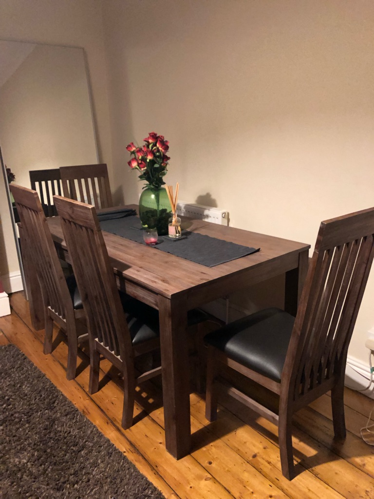 Dining table and 4 chairs - solid wood