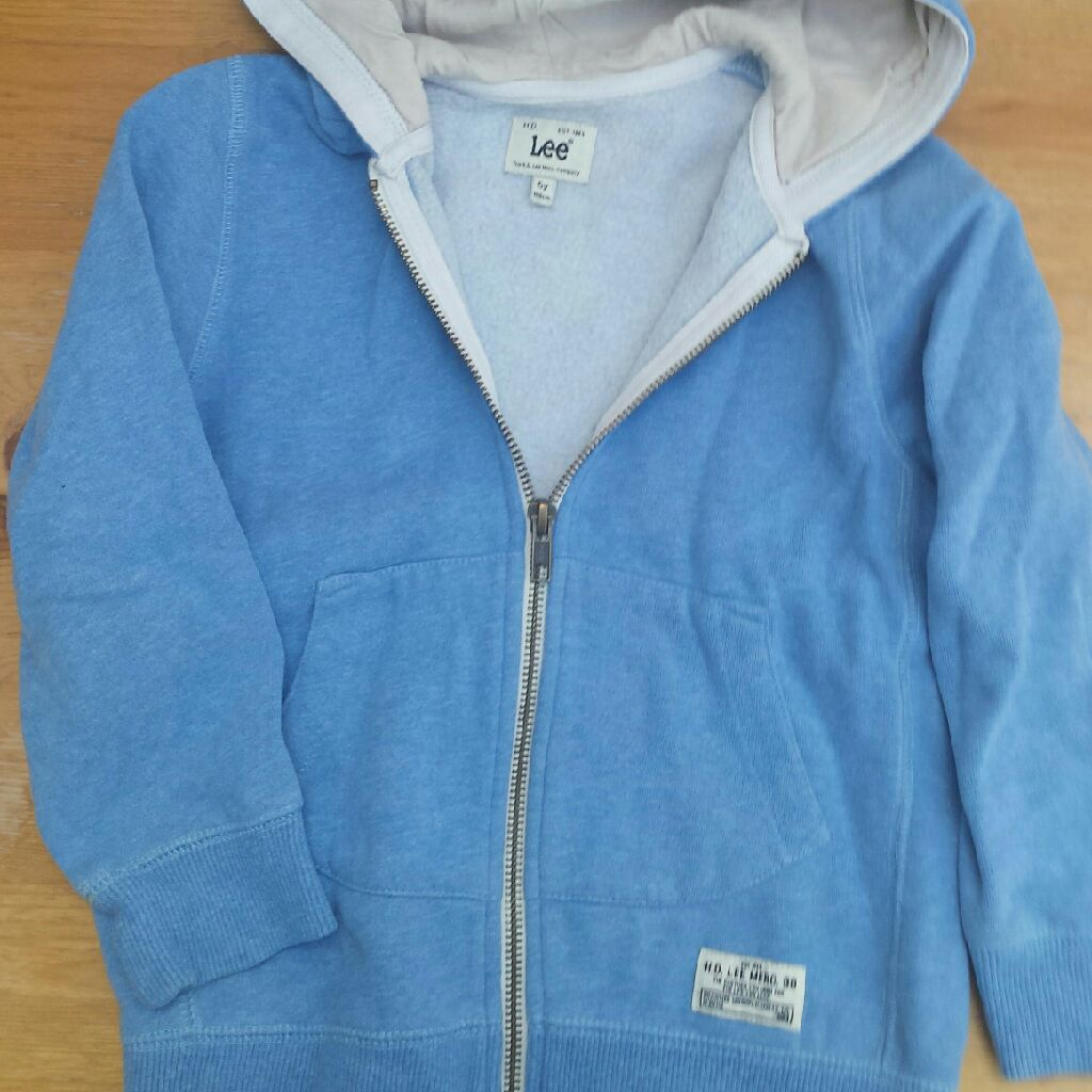 Lee, light blue hooded sweatshirt with front zip opening, 5 Years-106cm