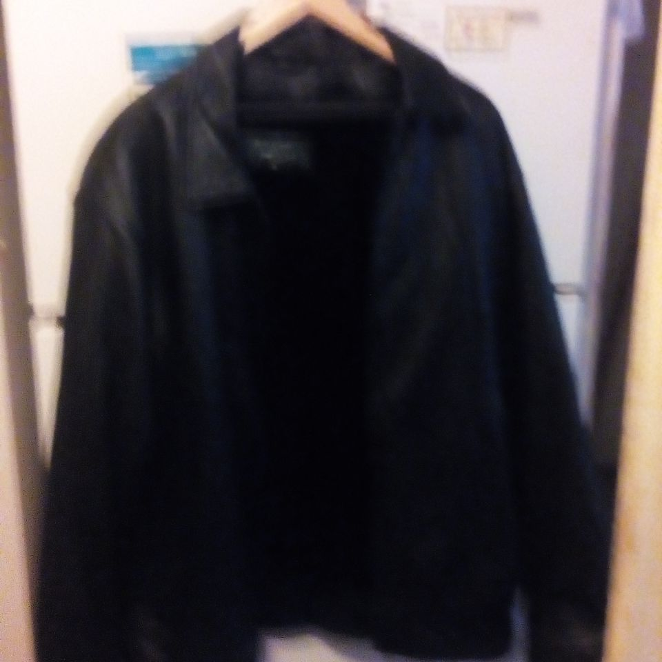 Leather Coat with Zip Outlining