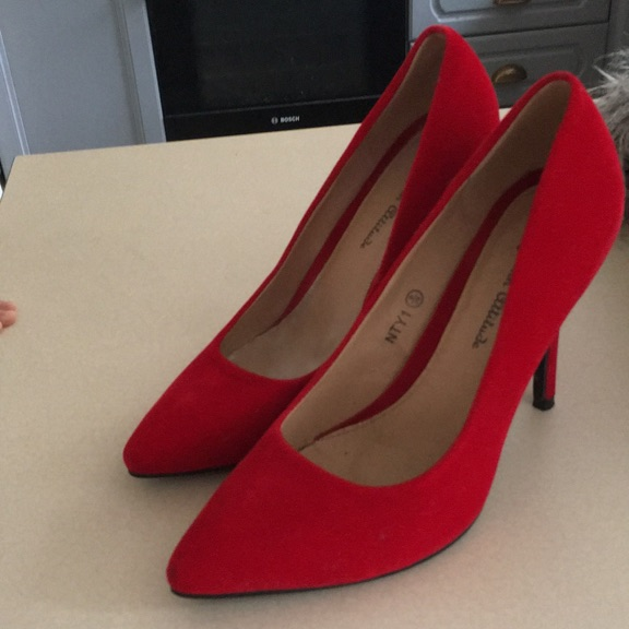 Red suede court shoes