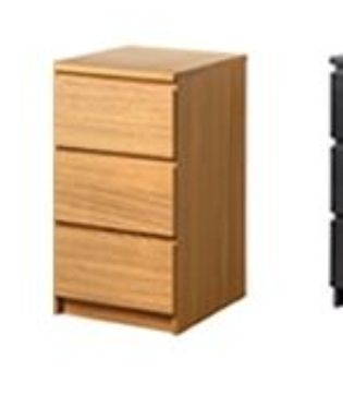 MALM Ikea bedside chests plus large chest of drawers