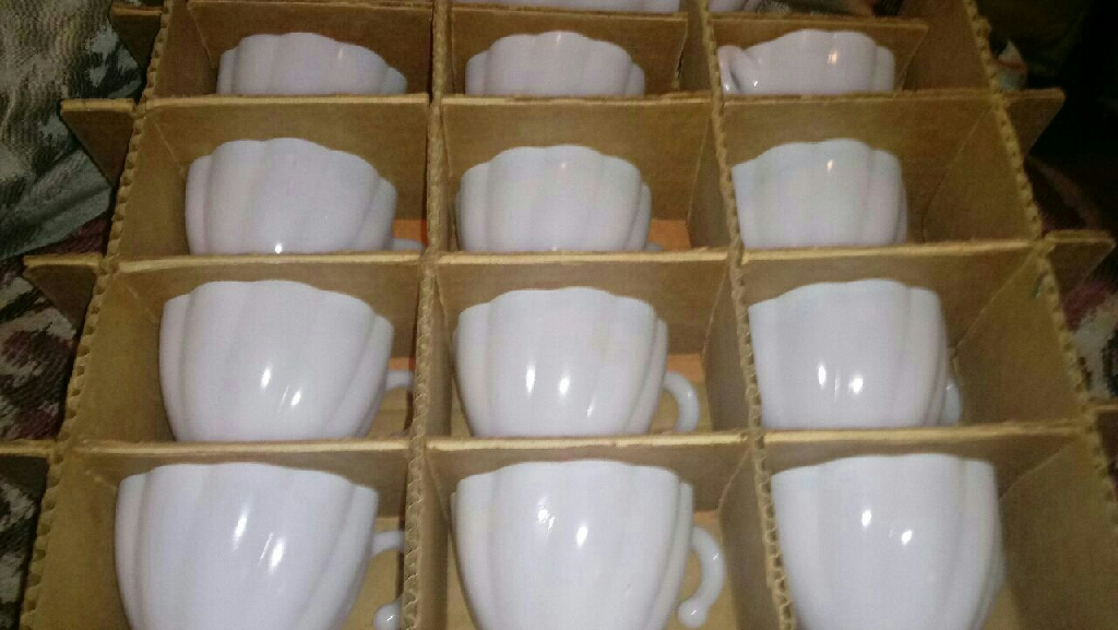 Milky white punch bowl set
