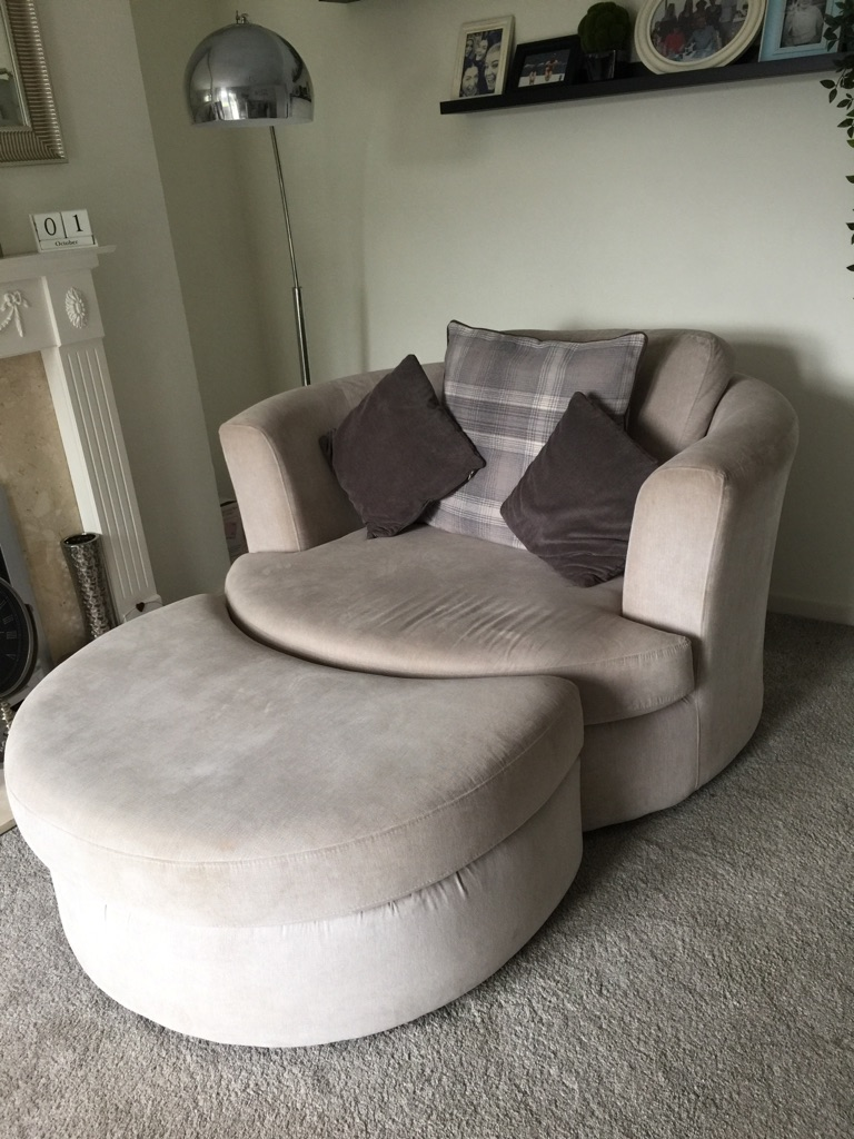 DFS light grey corner sofa and matching cuddle chair with half moon stool