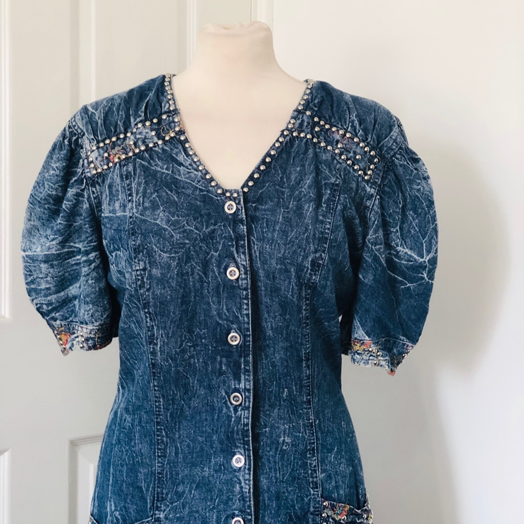 Women's blue denim vintage dress by rina dynarsky size 12/14