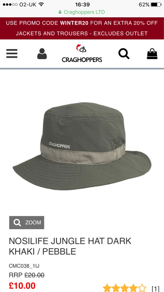 Craghoppers NOSILIFE JUNGLE HAT DARK KHAKI / PEBBLE