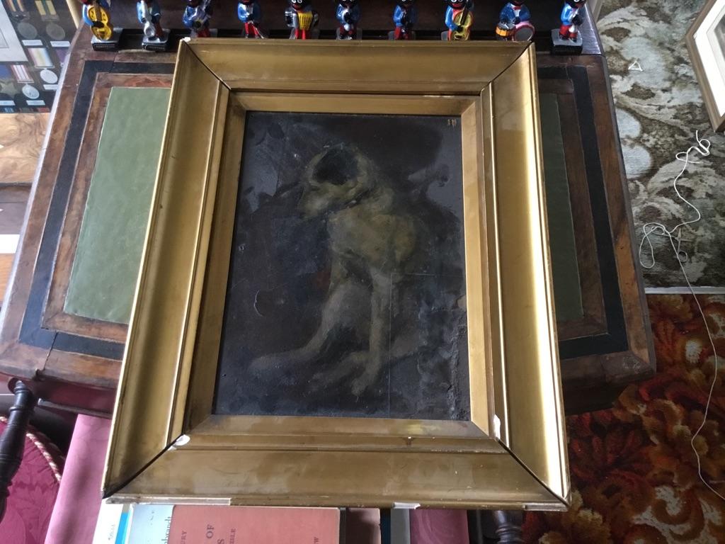 Nipper jack Russel dog HMV oil on board unknown artist 16in 13in open to offers