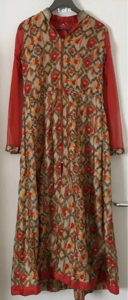 Women's Indian Orange Jacket Lehenga Dress - Size Small