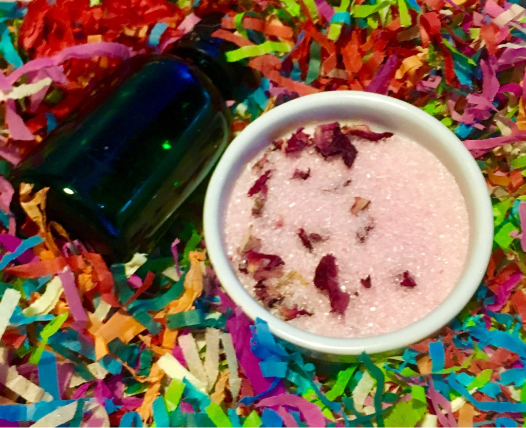 Rose scented bath salts with organic rose petals