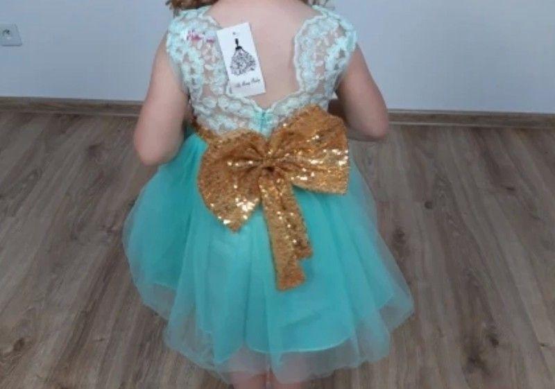 12 months mint green bow dress