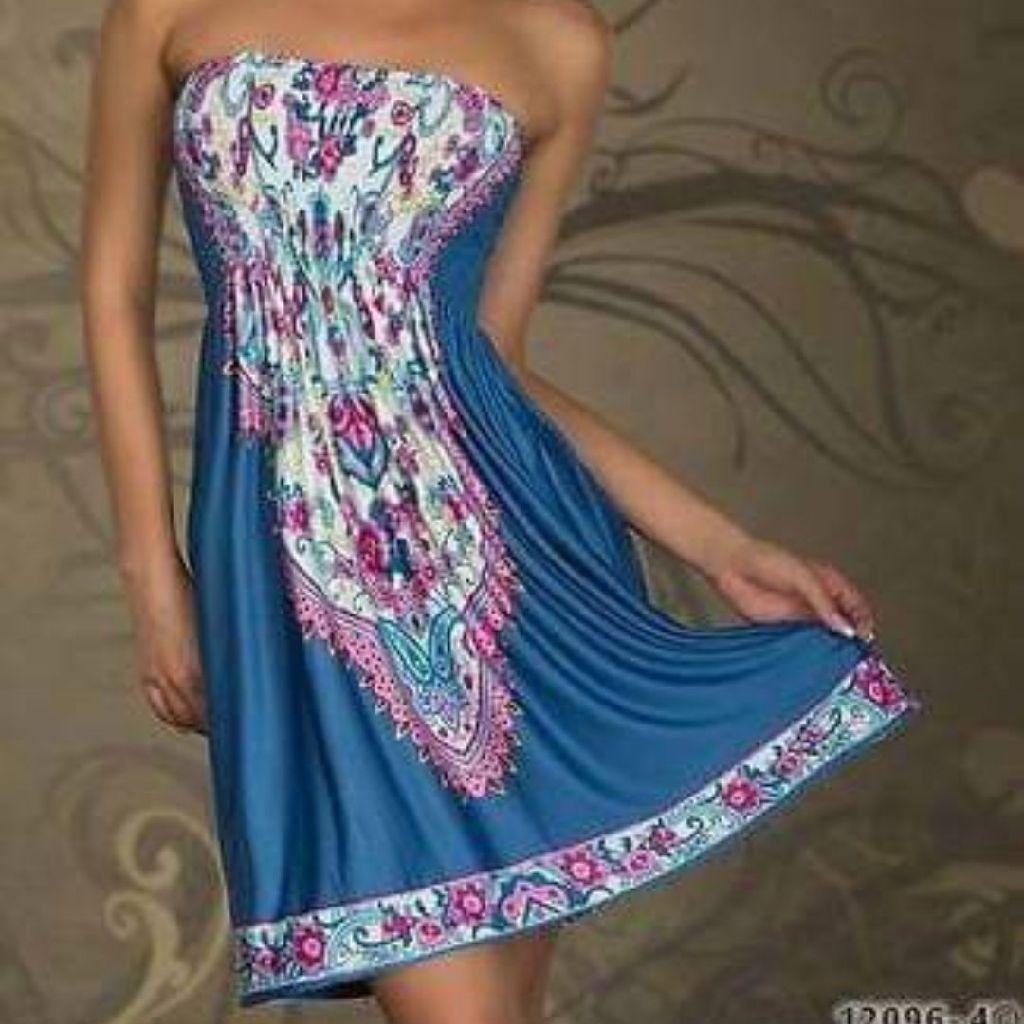 Blue boobtube summer dress