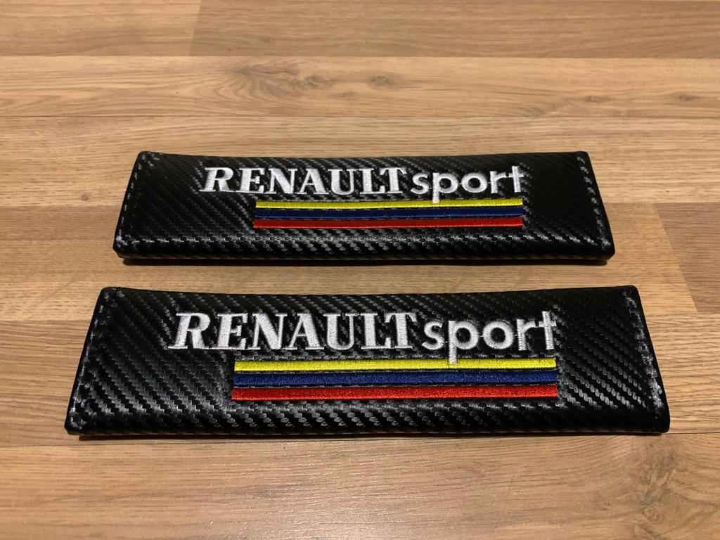 2X Seat Belt Pads Carbon Renault Megane Clio Sandero RS GT Sport Line Turbo MK 1 2 3 4 5