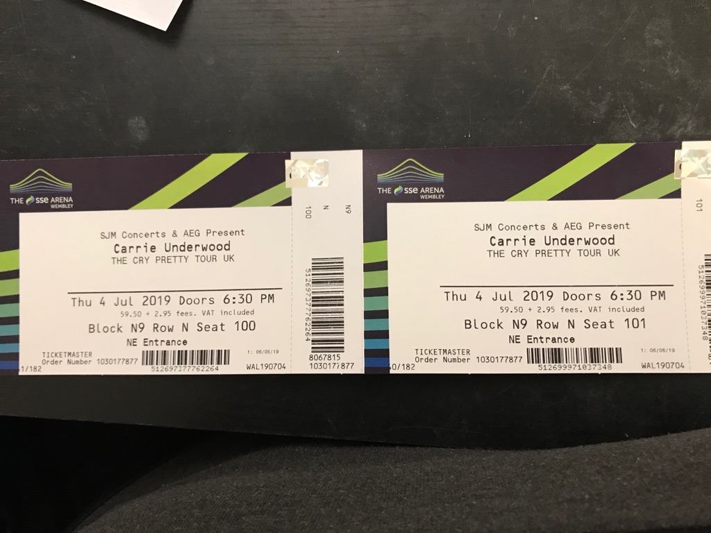 4 x Carrie Underwood Tickets SSE Wembley 4th July