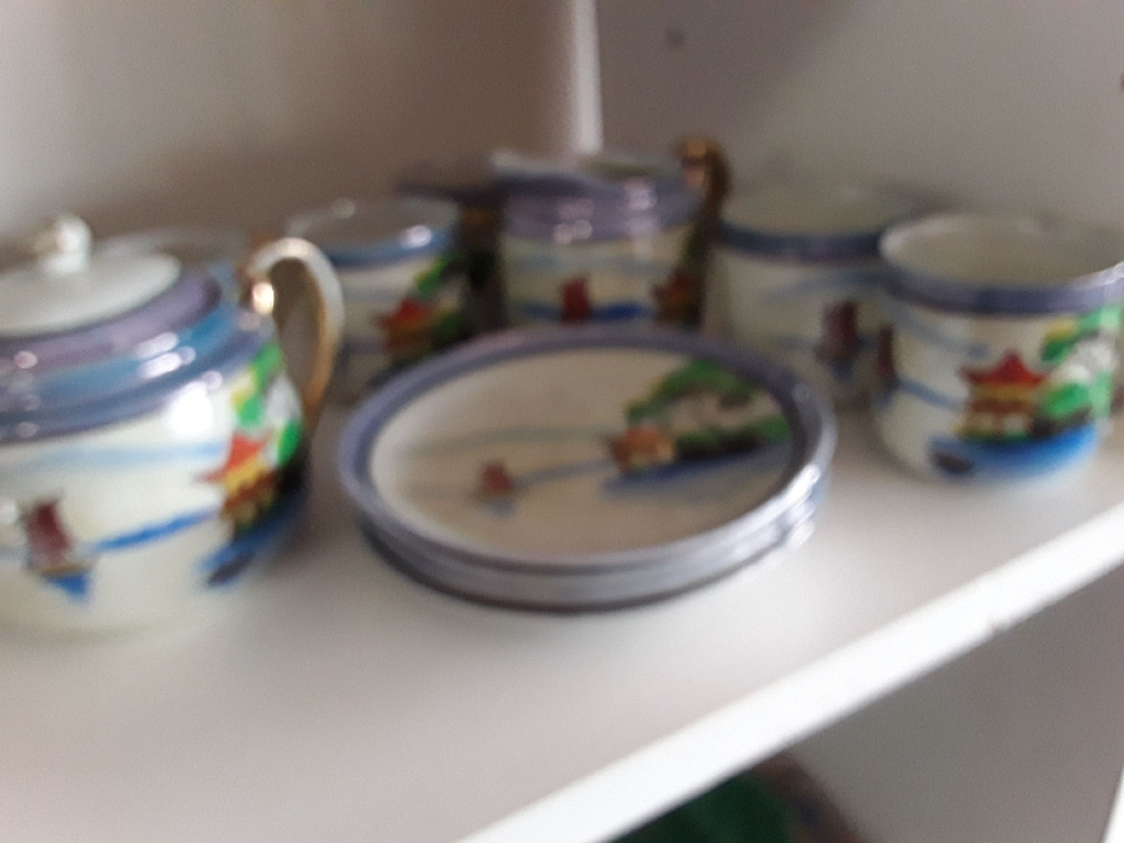 Hand Painted Japanese  Tea set with sugar and creamer