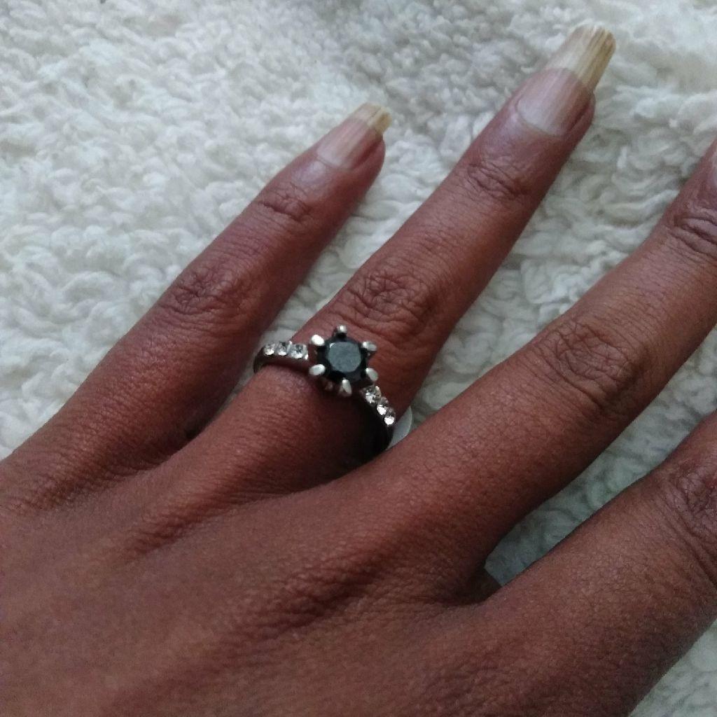 Stainless Steel  .75 kt Mossinite  Black diamond Ring