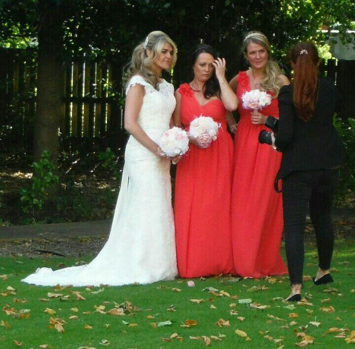2 bridesmaids dresses in terracotta