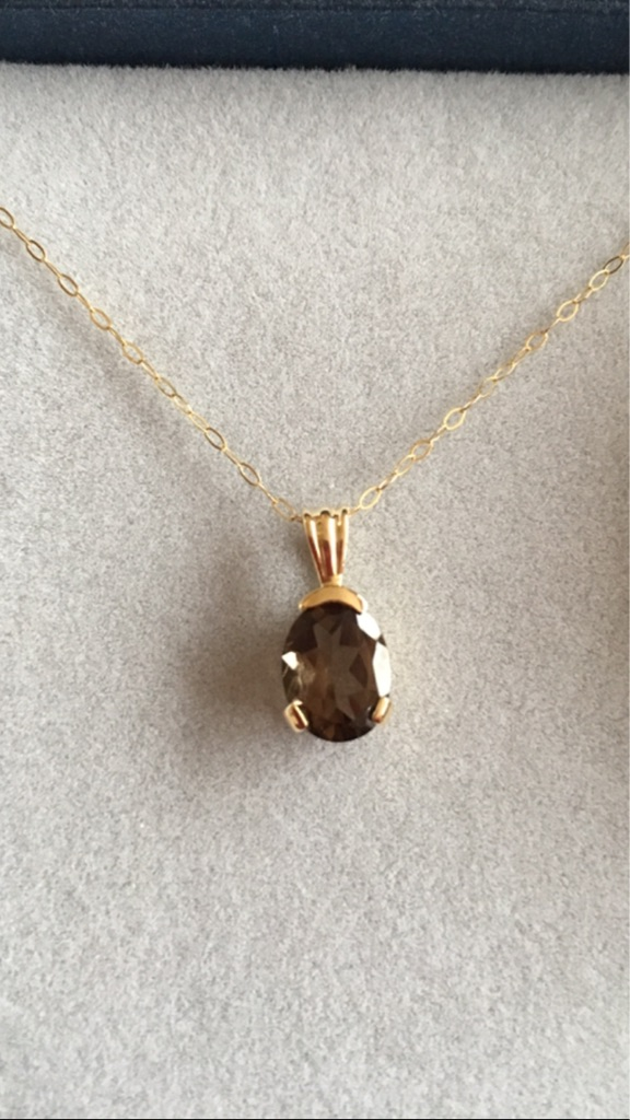 2.2ct Smoky Quartz Yellow 9K Gold Pendent with Gold Chain.