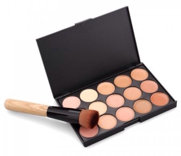 15 colours face concealer with power big brush make up tool kit