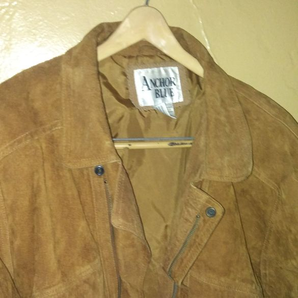 Anchor blue mens large suede leather brown jacket mint