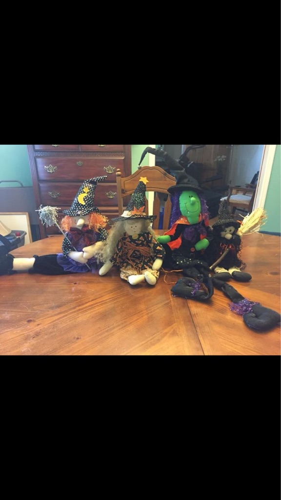 Four stuffed witches Halloween decor- shelf sitting