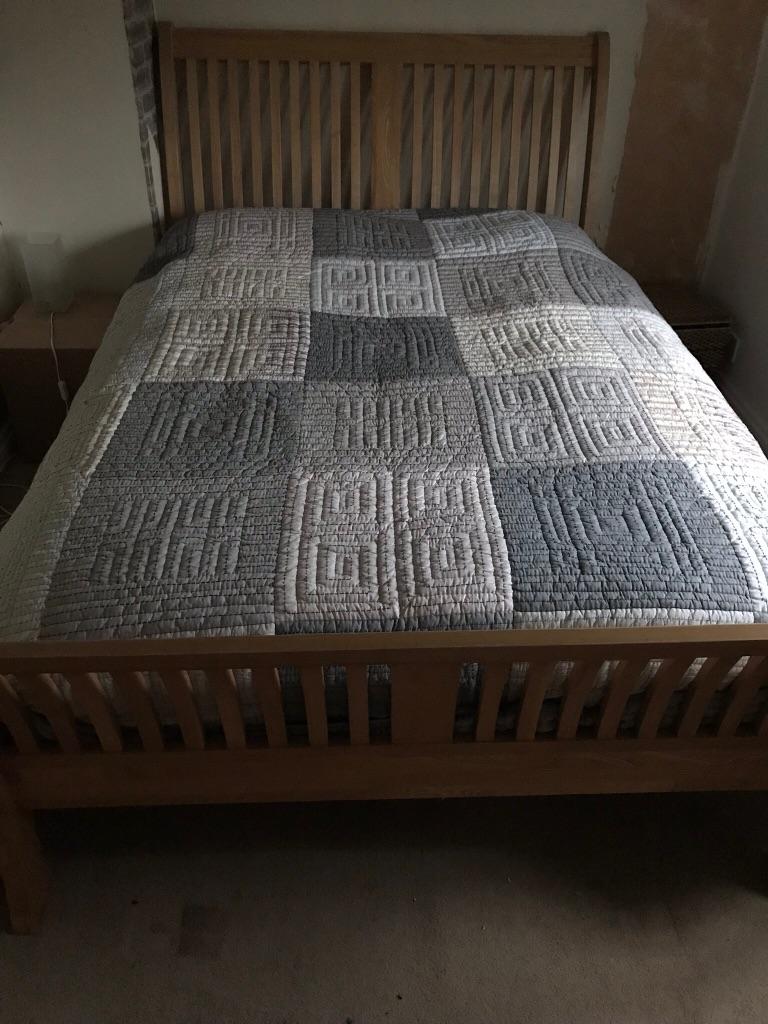 Oak double sleigh bed