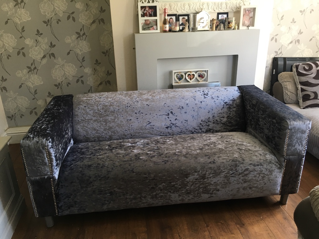 Slate grey crushed velvet sofa