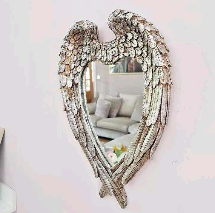 Angel Wings Heart Shaped Wall Mirror Silver