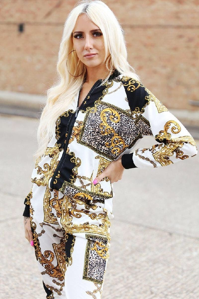 White Baroque Print Two Piece Tracksuit