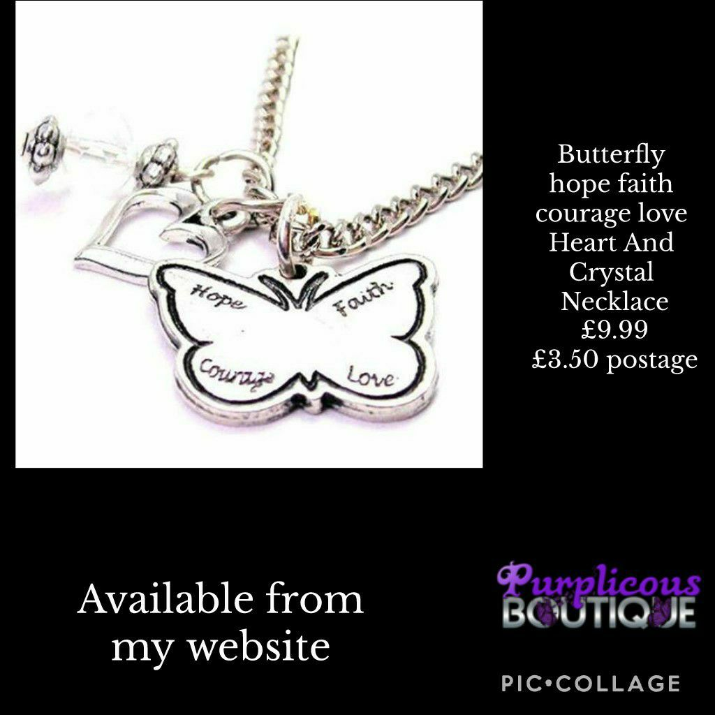 Butterfly hope faith courage love Heart And Crystal Necklace