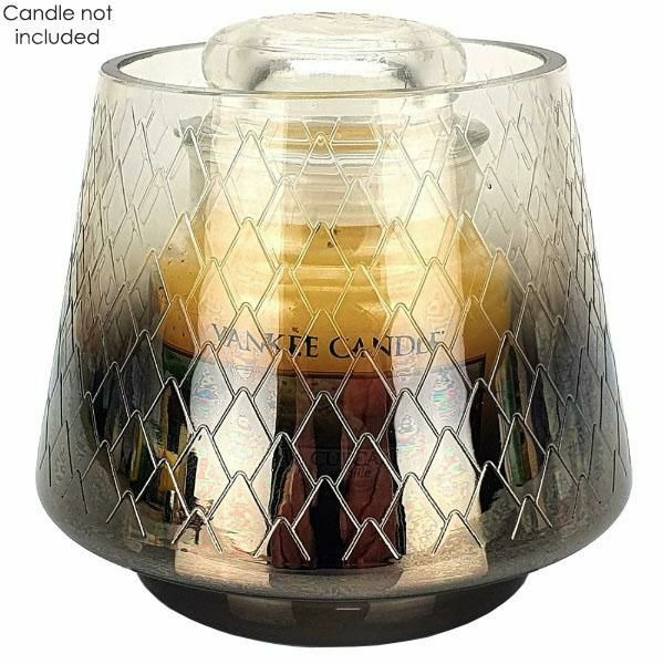 1 x Official Yankee Candle Pine Cone Etched Glass Small Jar Holder