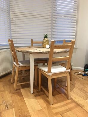 Wooden table + 4 matching chairs