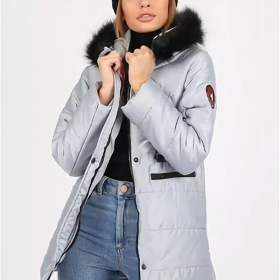 Silver Puffer Coat With Faux Fur Trim Puffer Coat With Faux Fur Trim On Hood And Badges