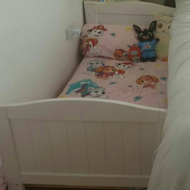 Toddler bed with John Lewis mattress and bedding