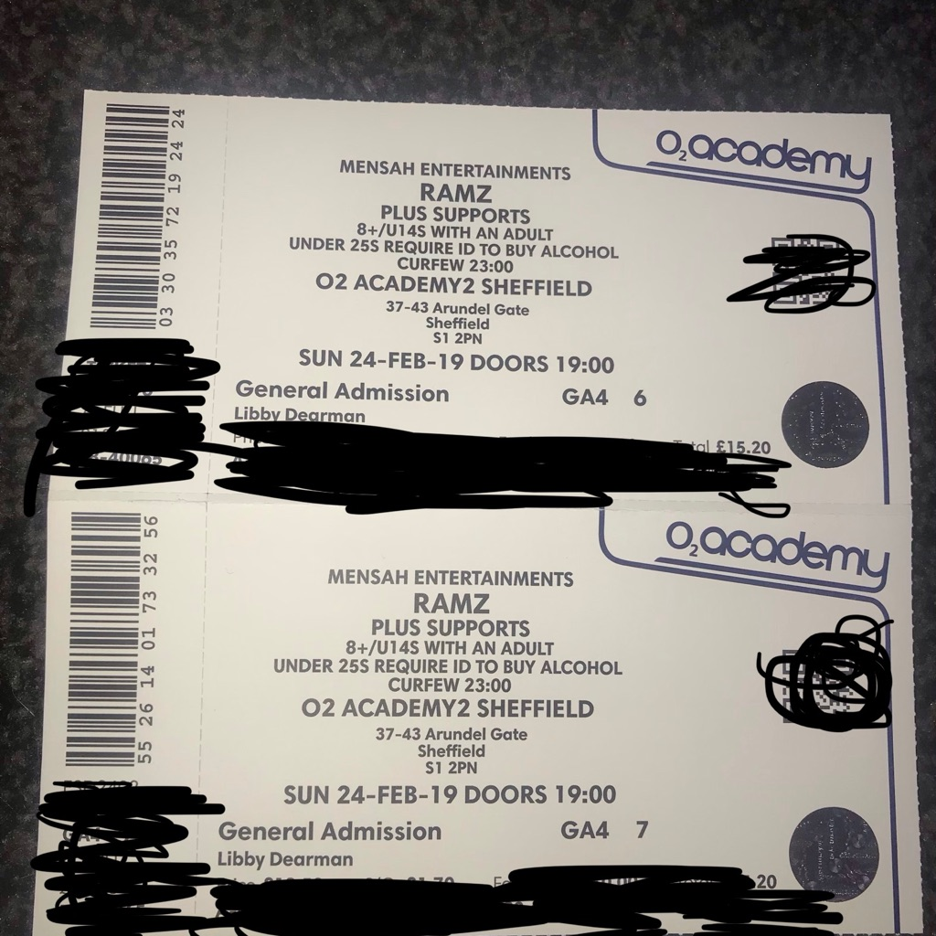 Ramz tickets Sheffield Sunday 24th of feb £20.00 for two