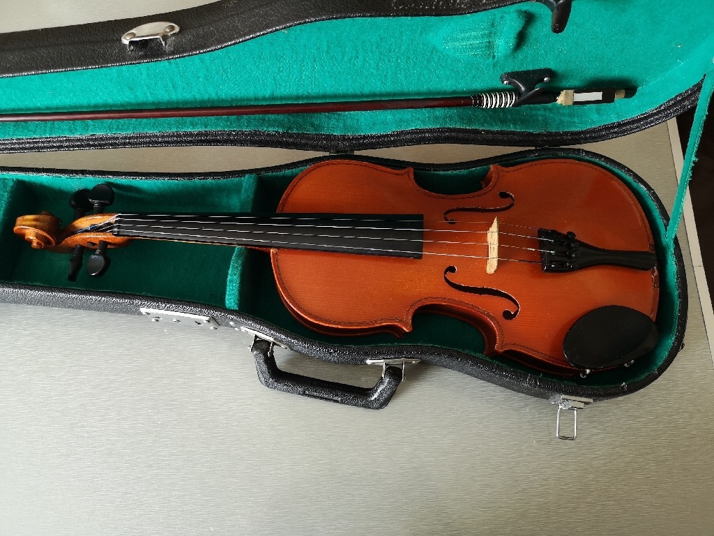 Vintage Child's violin in a hard carry case. Size 1/2