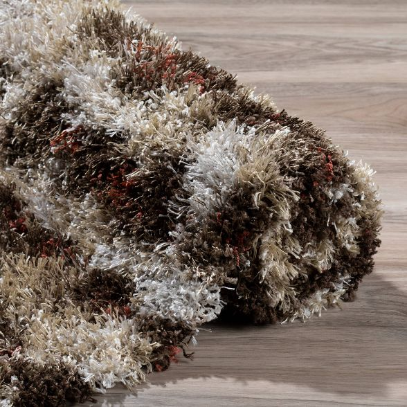 """Addison Borealis Mid-Century Modern Shag Area Rug, Ivory, 3'3""""x5'1"""""""