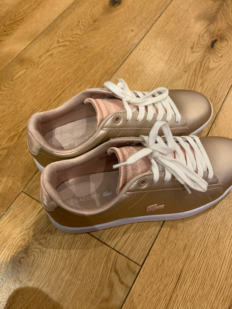 Lacoste women's rose gold trainers