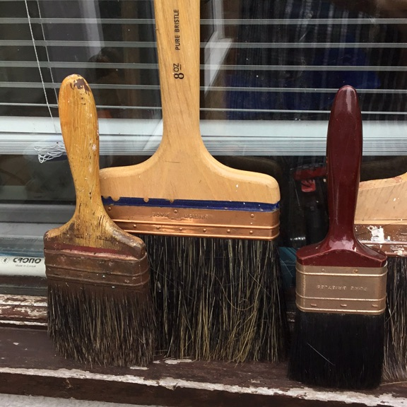 Five decorating brushes