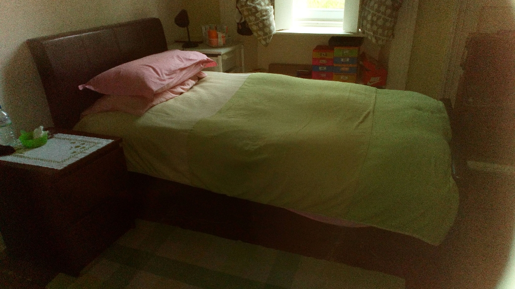 Leather Single Bed and Mattress