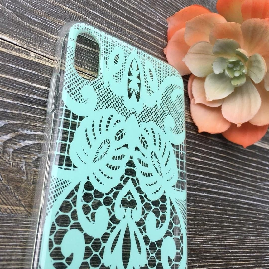 Teal lace iPhone X/XS case