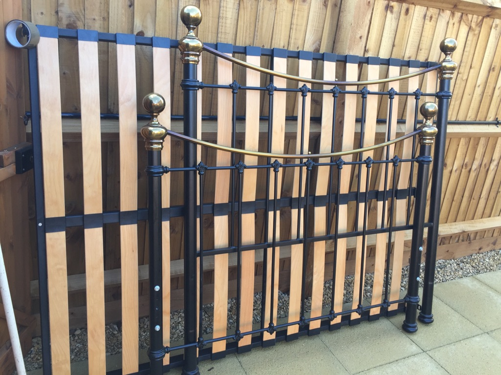 Brass and black bed frame Victorian