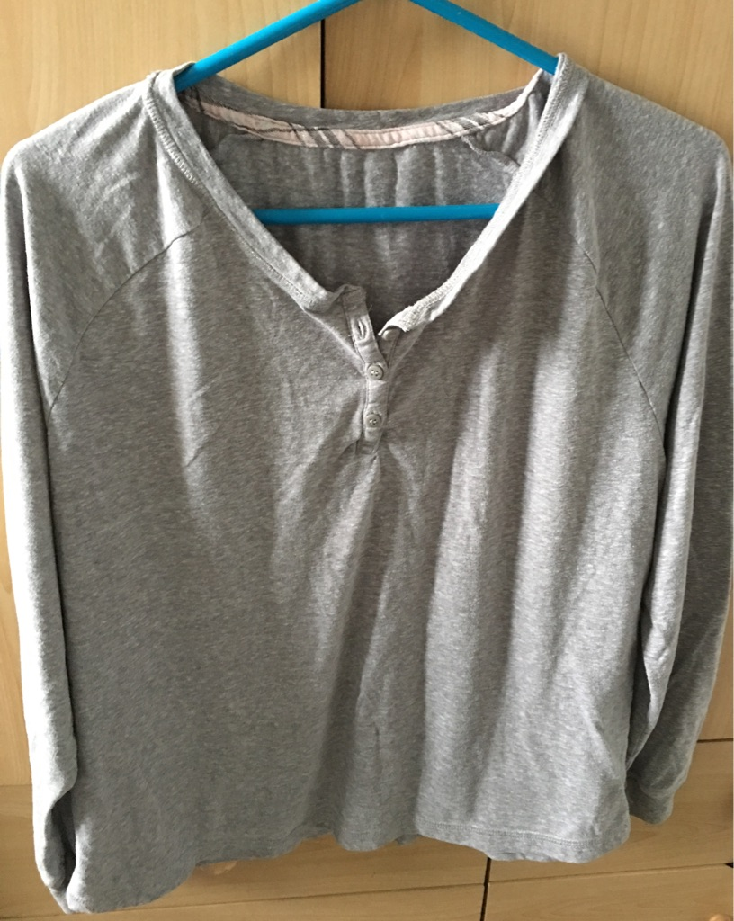 Long sleeved grey PJ top