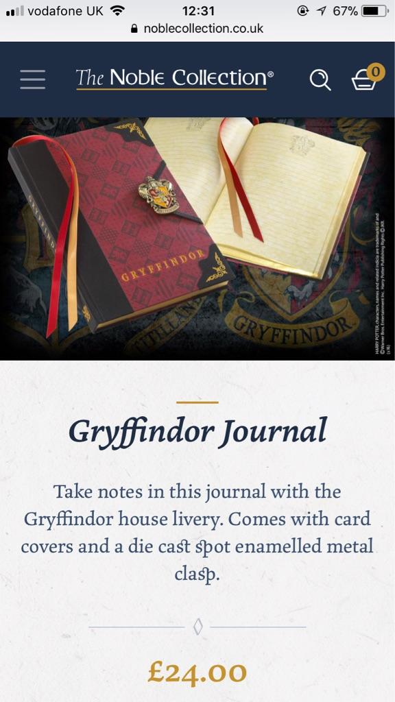 Harry Potter Griffindor Journal