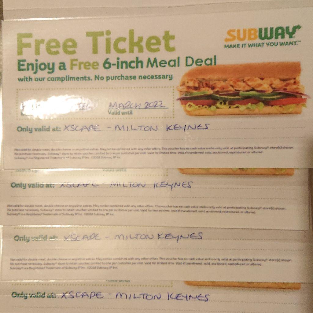 Subway £20 Vouchers for Sale